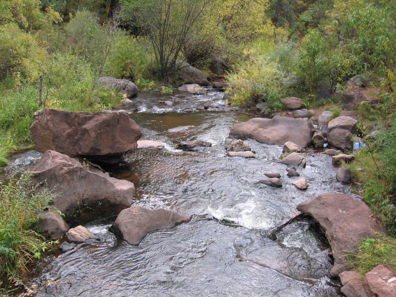 Le cascate del pendio di collina del New Mexico scorrono il fiume del whitewater oscilla l'acqua bagnata fotografie stock libere da diritti