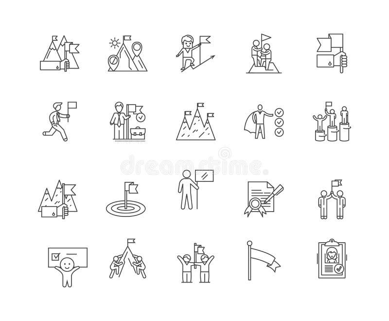 Le caselle di controllo allineano le icone, segni, insieme di vettore, concetto dell'illustrazione del profilo illustrazione di stock