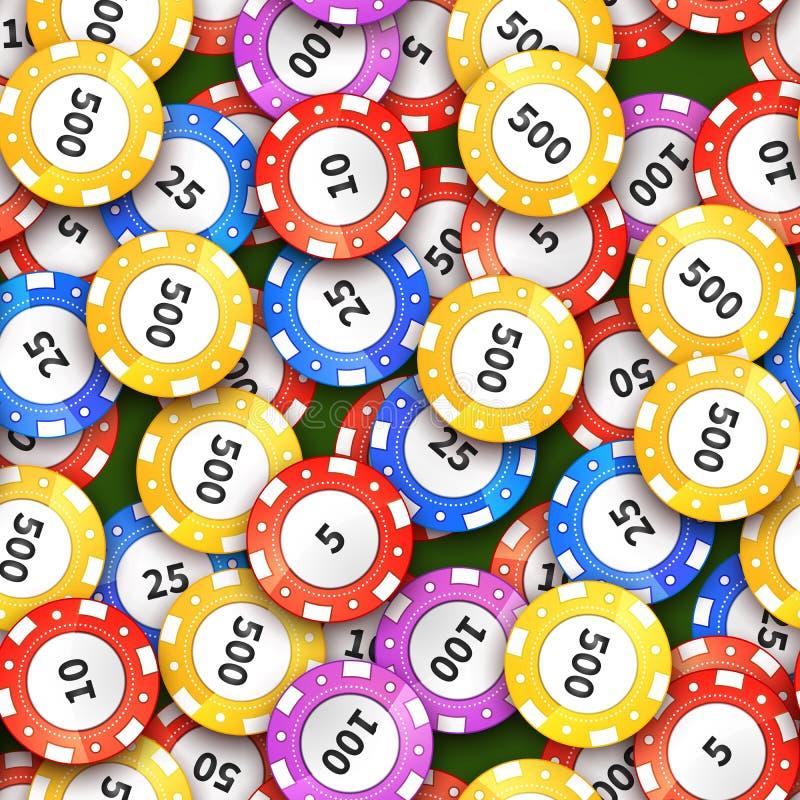 Le casino coloré différent ébrèche sur le tissu vert, modèle sans couture illustration de vecteur