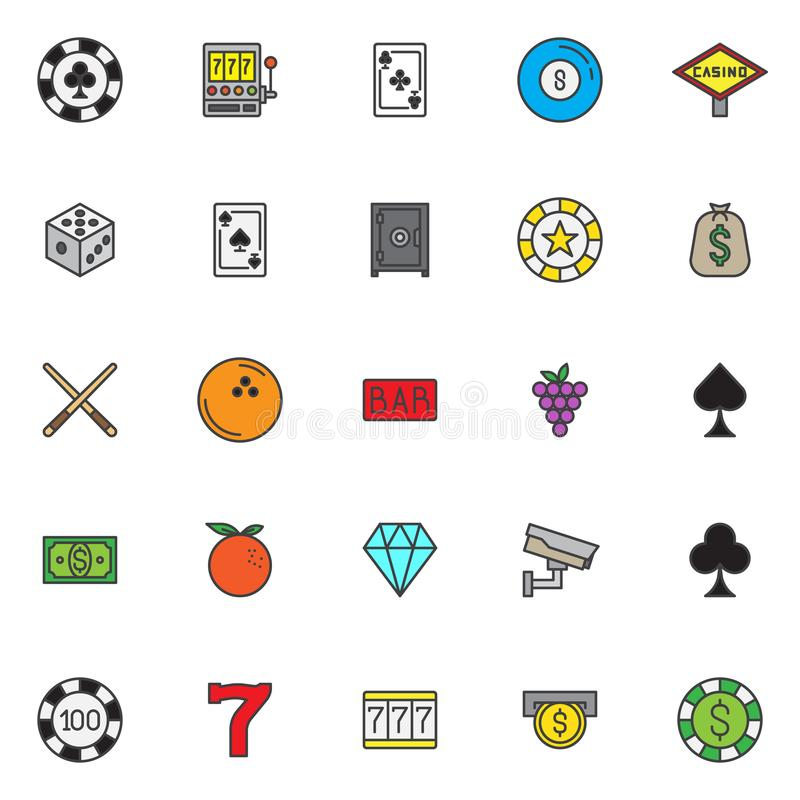 Le casino a rempli icônes d'ensemble réglées illustration libre de droits