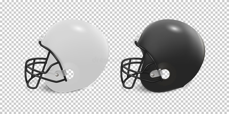 Le casque de football américain classique réaliste a placé - la couleur noire et blanche sur le fond transparent Vue de côté illustration de vecteur