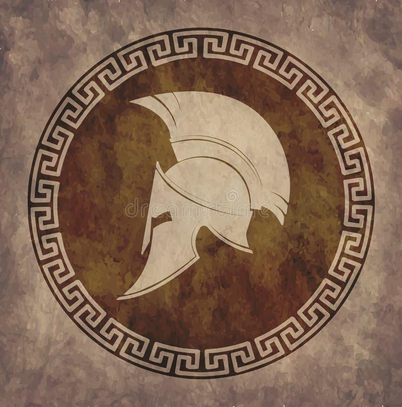 Le casque spartiate une icône sur le vieux papier dans le grunge de style, est publié dans le style grec antique illustration de vecteur