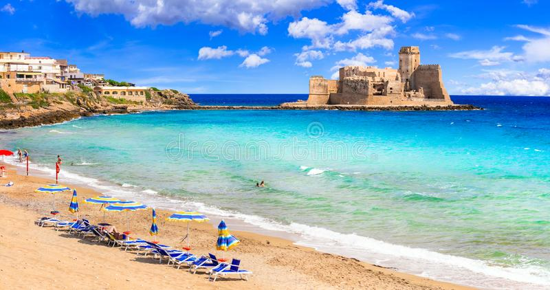 Le Castella .Isola di Capo Rizzuto, beach and castle of Calabria. stock photo