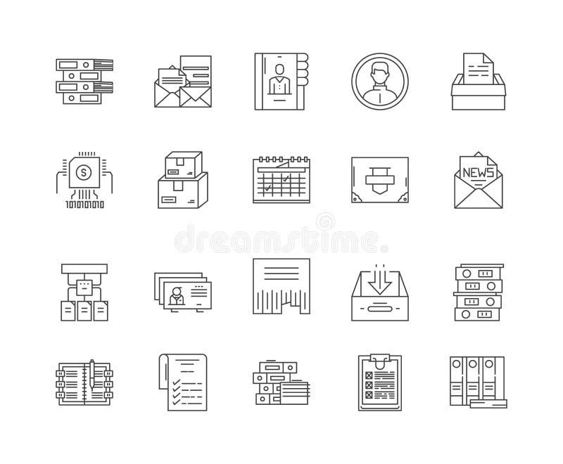 Le categorie allineano le icone, segni, insieme di vettore, concetto dell'illustrazione del profilo illustrazione vettoriale