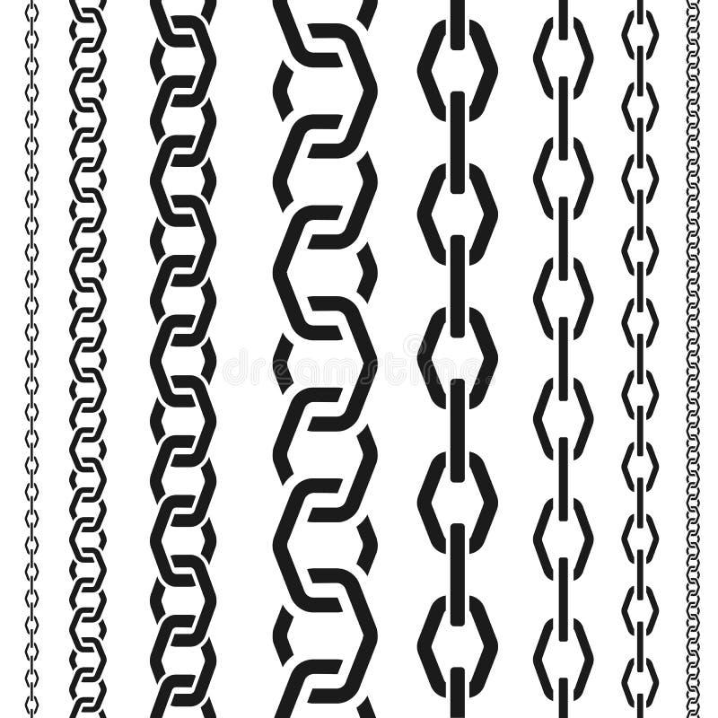 Le catene hanno messo della scala differente, forma poligonale insolita, modello verticale senza cuciture, illustrazione nera di  illustrazione di stock