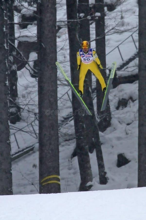 Le cavalier de ski Noriaki KASAI vole images libres de droits