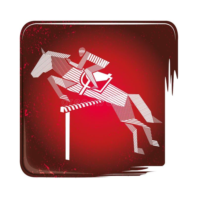 Le cavalier sautant l'icône rayée illustration de vecteur
