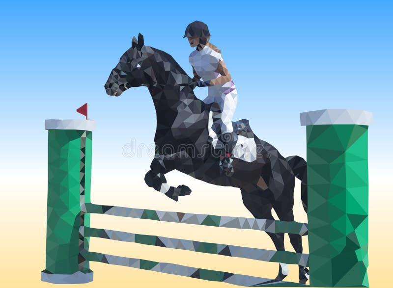 Le cavalier saute sur un cheval au-dessus d'obstacle - bas-poly vecteur illustration libre de droits