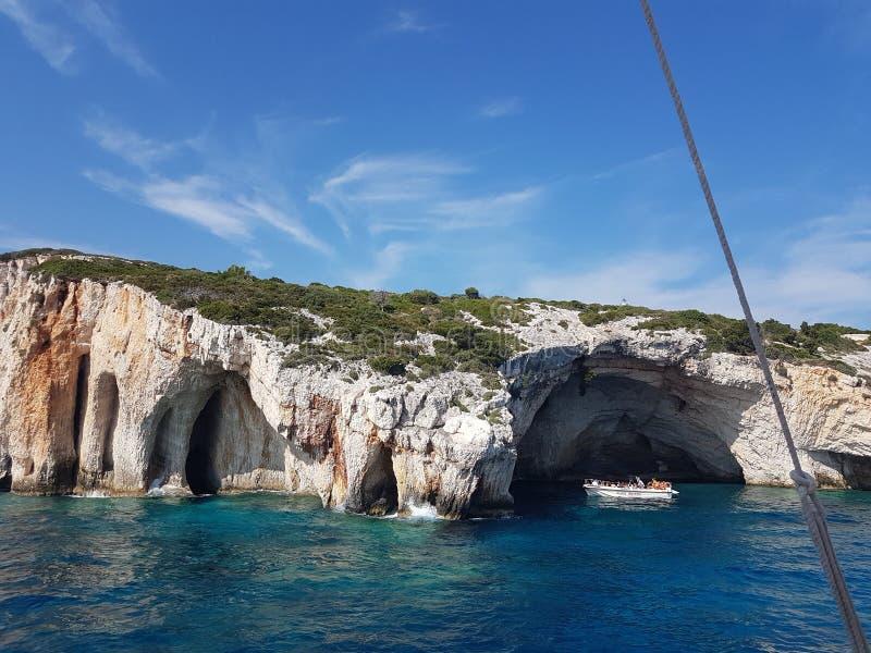 Le caverne blu ed i cieli blu Grecia Zacinto 23/08/2018 fotografia stock