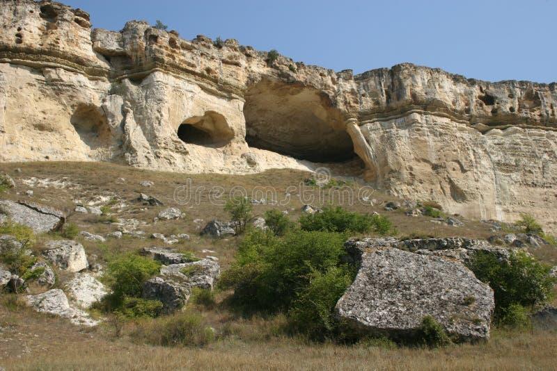Le caverne della roccia di bianco fotografie stock