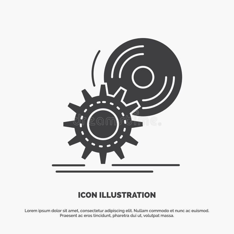 le Cd, disque, installent, logiciel, icône de dvd symbole gris de vecteur de glyph pour UI et UX, site Web ou application mobile illustration libre de droits