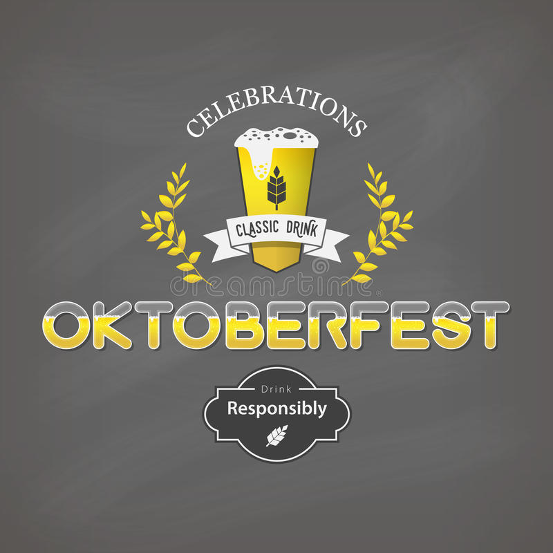 Le celebrazioni di Oktoberfest progettano, manifesto d'annata con il fondo della lavagna illustrazione vettoriale