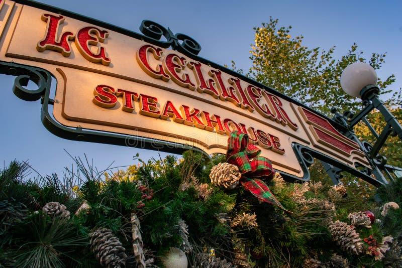 Le Cellier Steakhouse Schild bei Epcot 124 stockfotografie