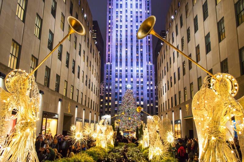 Le centre de Rockefeller d'arbre image stock