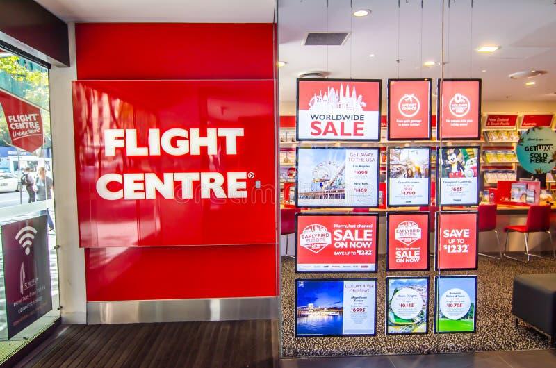 Le centre de vol est le plus grand détaillant du voyage dans l'Australie, expositions d'image la devanture avec le détail de prom photographie stock