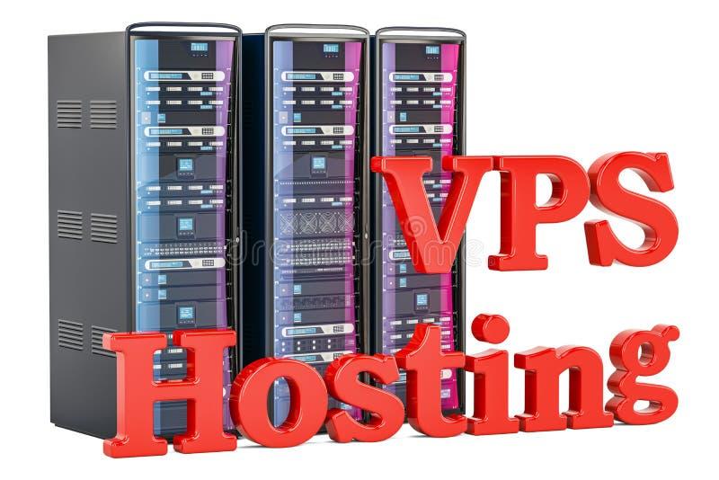 Le centre serveur d'Internet du serveur privé virtuel VPS, 3D rendent illustration de vecteur