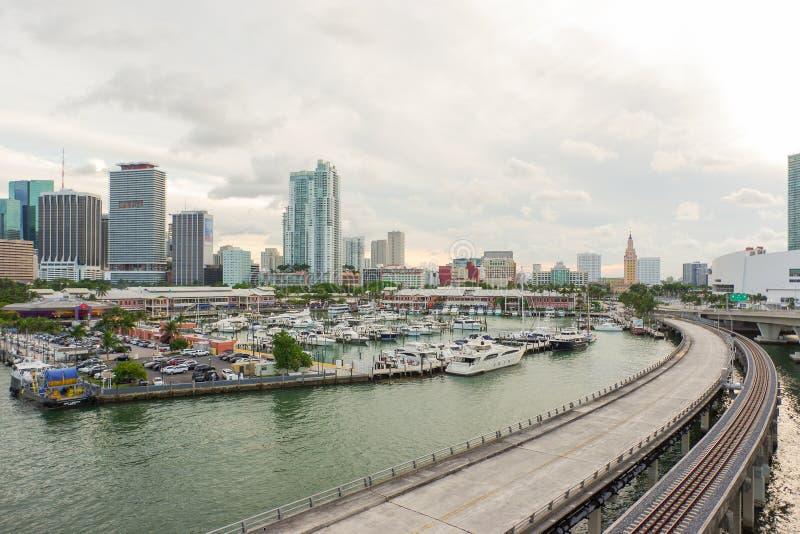 Le centre ville de Miami de l'île de Dodge photos libres de droits