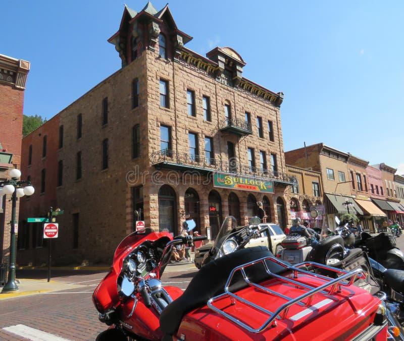 Le centre ville historique du Dakota du Sud de bois mort, motel de Bullock photographie stock libre de droits