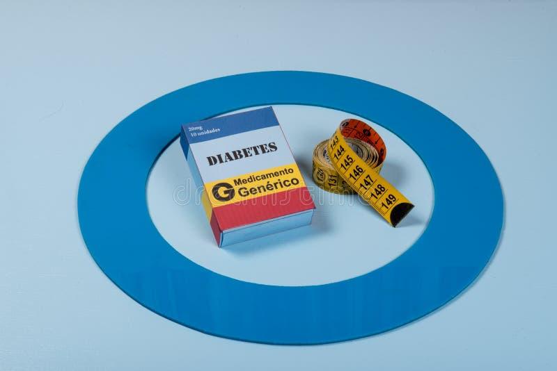 Le cercle bleu avec de l'équipement de diabète font le traitement la maladie photo libre de droits