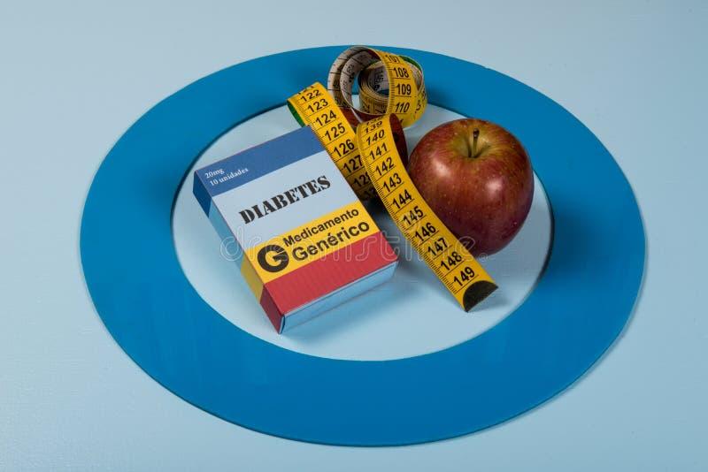 Le cercle bleu avec de l'équipement de diabète font le traitement la maladie photos stock