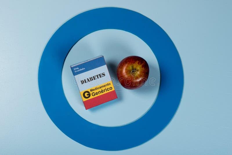 Le cercle bleu avec de l'équipement de diabète font le traitement la maladie images stock