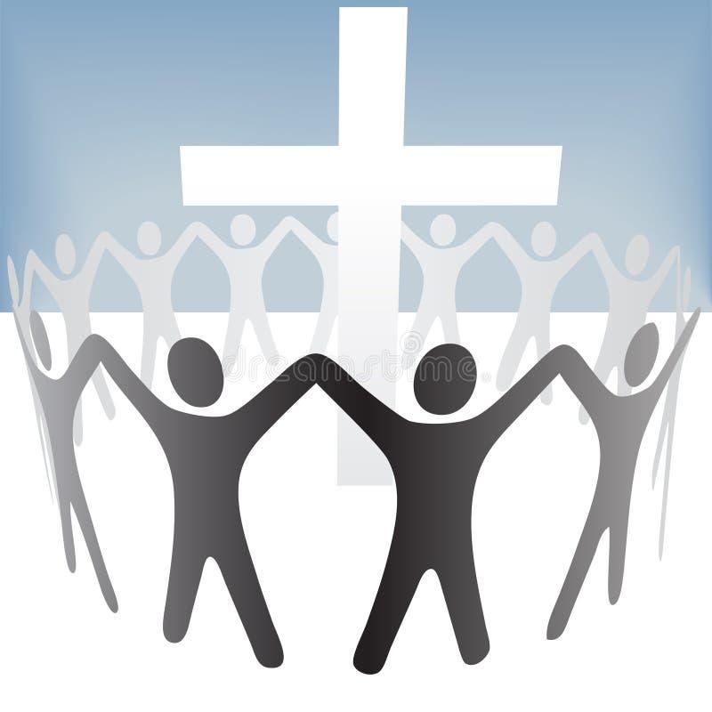 Le cercle de gens retardent le rassemblement de mains autour d'une croix illustration stock