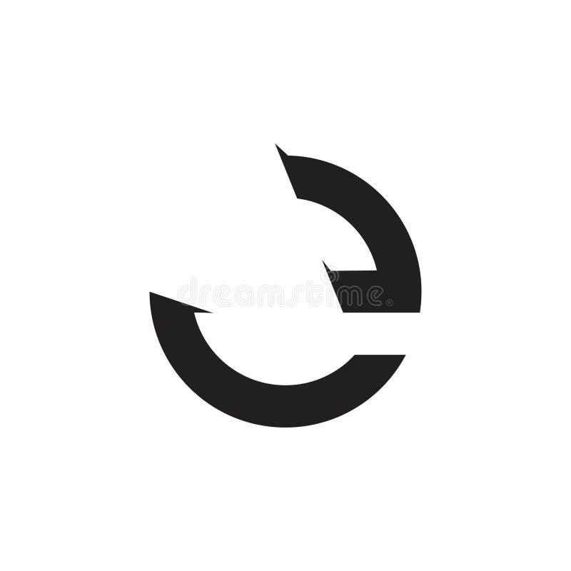 Le cercle de la lettre e tournent le vecteur géométrique de logo de flèche illustration de vecteur