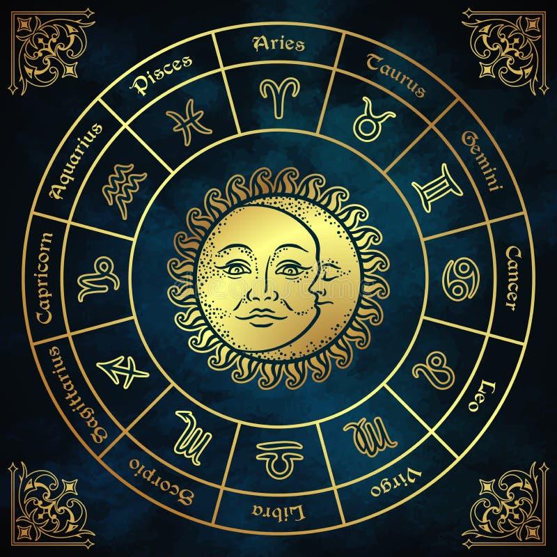 Le cercle de zodiaque avec l'illustration tirée par la main de vecteur de style de vintage de signes, de soleil et de lune d'horo illustration libre de droits
