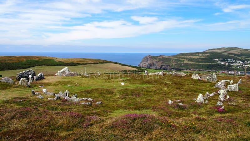 Le cercle en pierre antique de Meayll sur l'île de Man photo stock