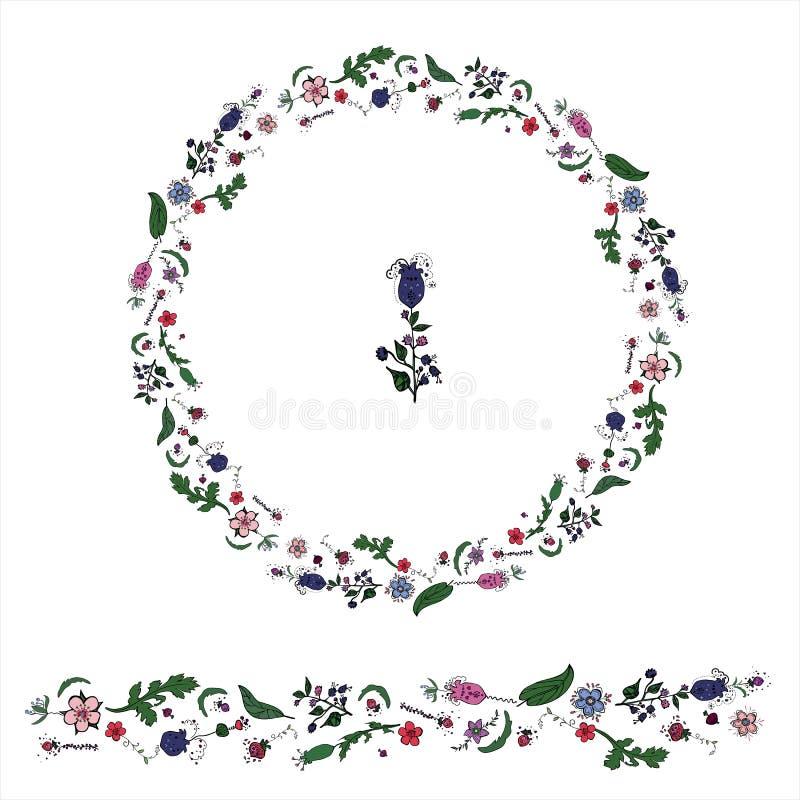 Le cercle a fait à partir de la guirlande dudling florale de whith d'éléments illustration stock