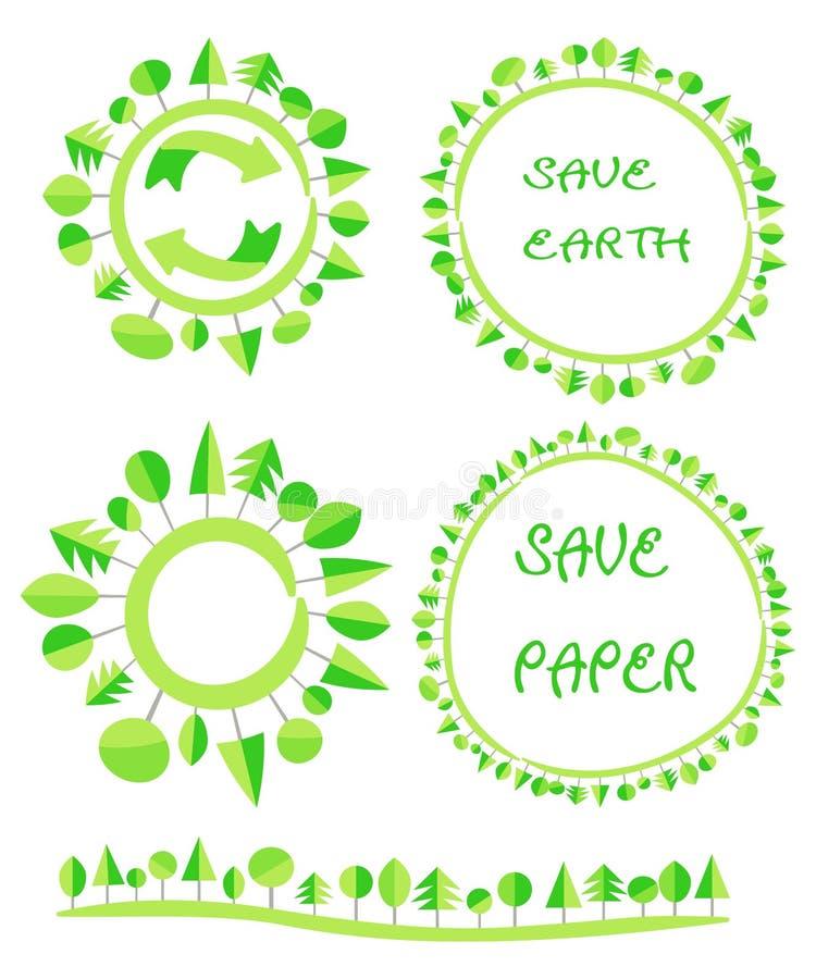 Le cercle plat écologique d'arbre de vert de la terre réutilisent l'élément de globe d'eco illustration de vecteur