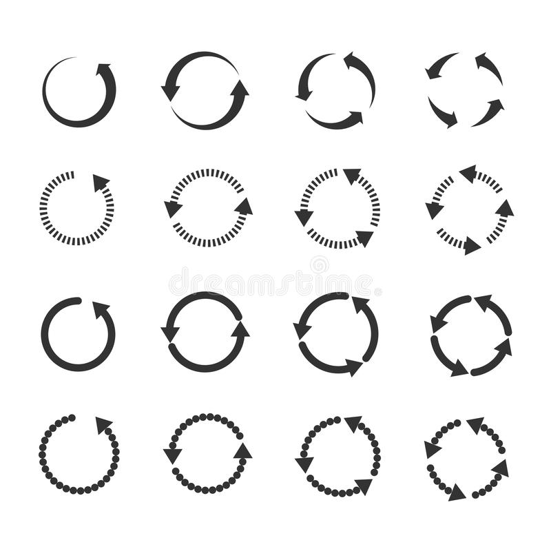 Le cercle régénèrent des flèches de vecteur de boucle de rotation de recharge réglées illustration libre de droits