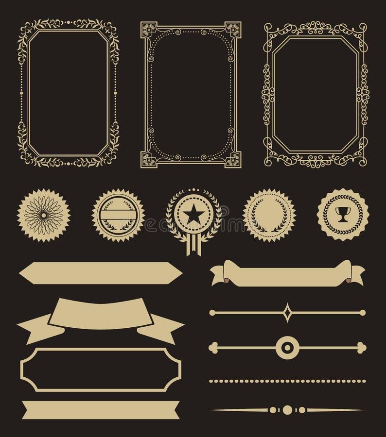 Le certificat marque des récompenses et des rubans les signes d'or illustration libre de droits