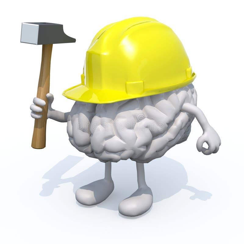 Le cerveau avec des bras, jambes, casque de travail et martèlent en main illustration libre de droits