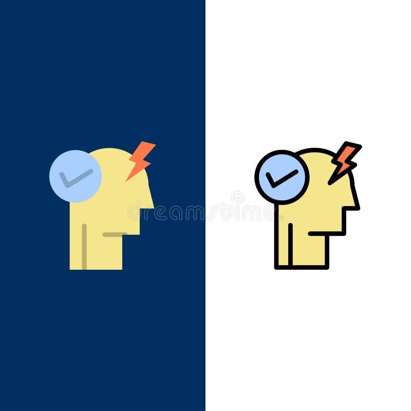 Le cerveau, esprit, puissance, mode de puissance, activent des icônes L'appartement et la ligne icône remplie ont placé le fond b illustration libre de droits