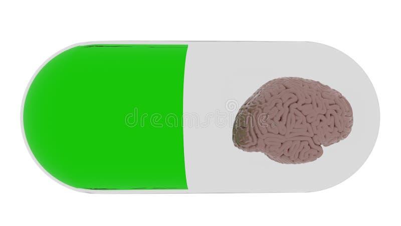 Le cerveau futé de soins de santé dans la pilule 3d rendent illustration stock