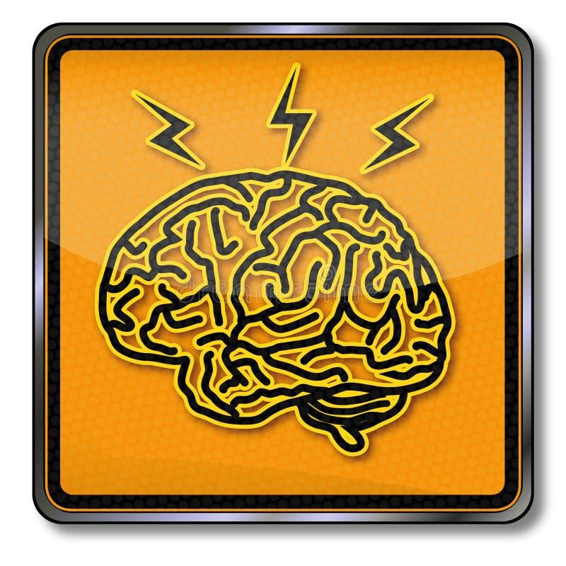 Le cerveau, l'inspiration et le mal de tête illustration de vecteur