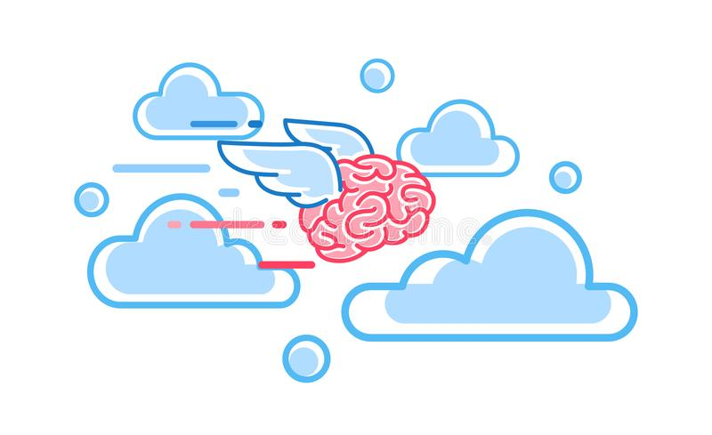 Le cerveau vole parmi l'illustration de vecteur de nuages illustration libre de droits