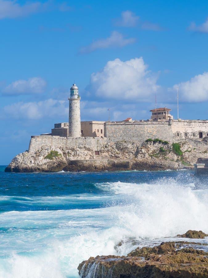 Le château et le phare de l'EL Morro à La Havane photos libres de droits
