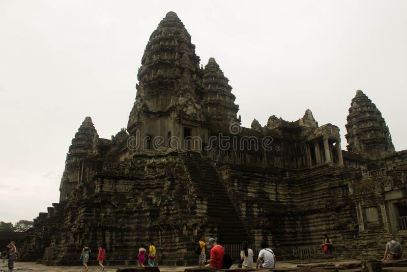 Le château principal Angkor Vat image libre de droits