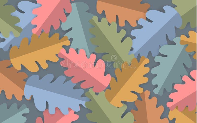 Le chêne coloré par pastel de style de coupe de papier part du fond, bannière de thanksgiving de chute d'automne illustration stock