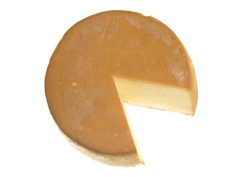 Le chêne a fumé le fromage avec la coupure de segment photographie stock libre de droits