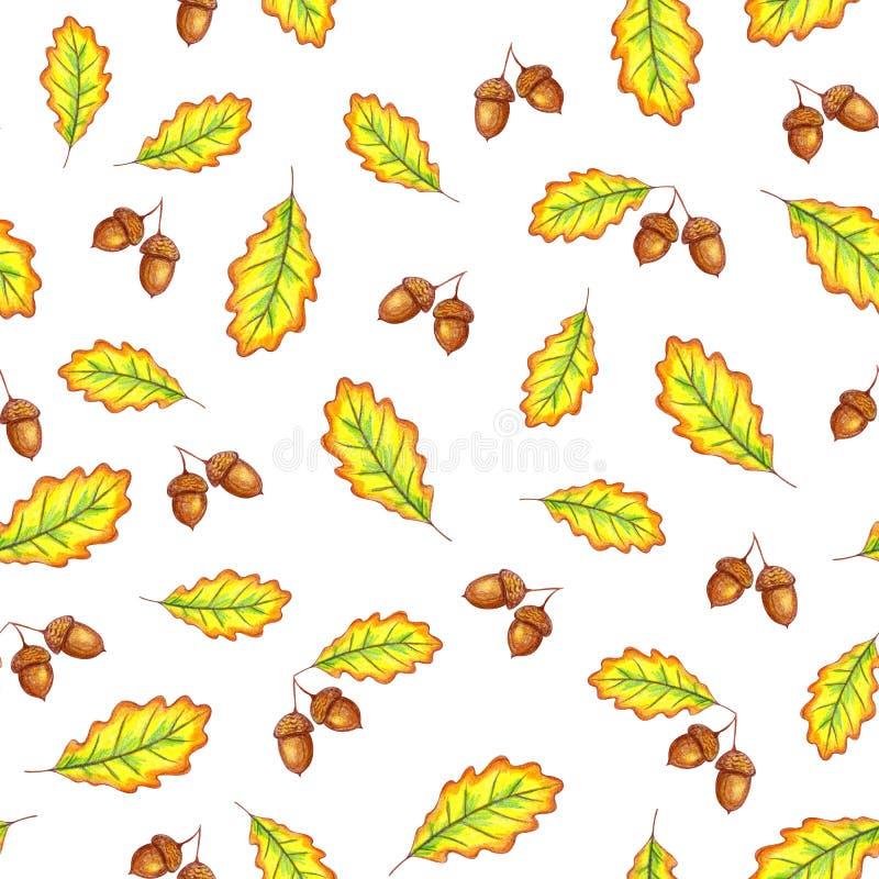Le ch?ne d'automne part du mod?le sans couture illustration libre de droits