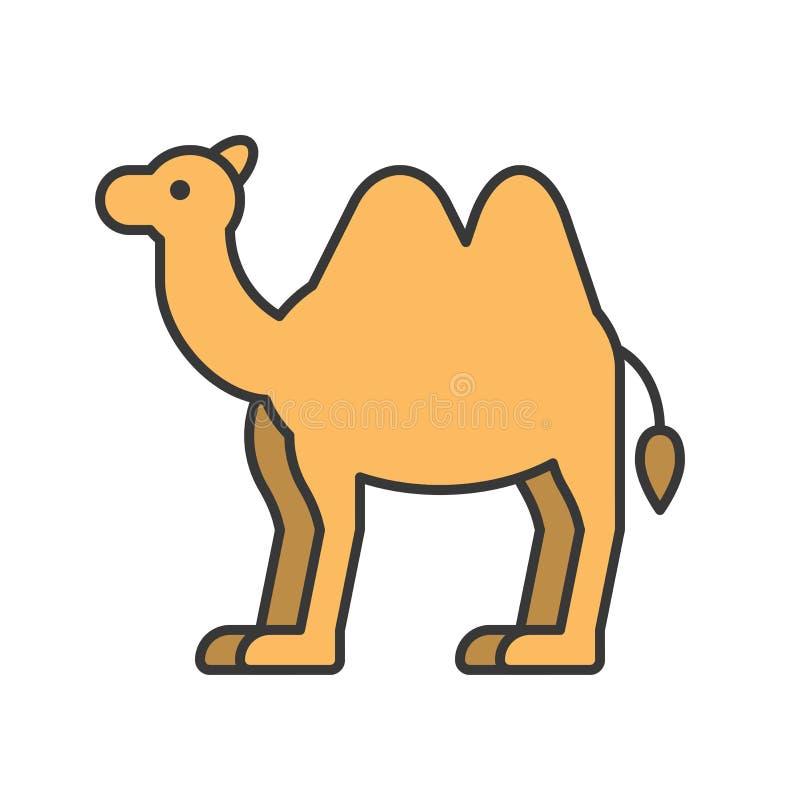 Le chameau, animal dans l'ensemble d'icône de zoo, a rempli conception d'ensemble illustration libre de droits