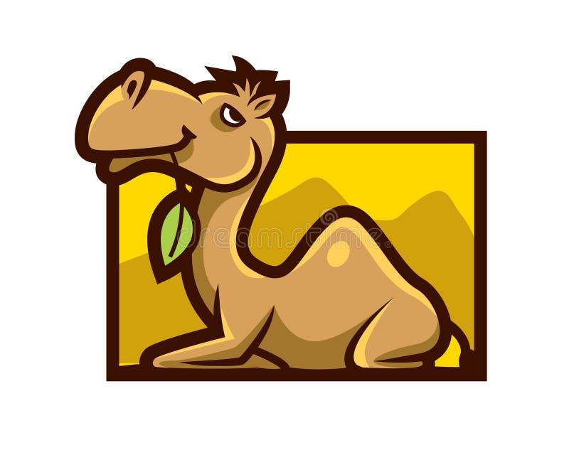Le chameau mignon de bande dessinée tient une feuille dans l'illustration de vecteur de mascotte de caractère de bouche illustration libre de droits