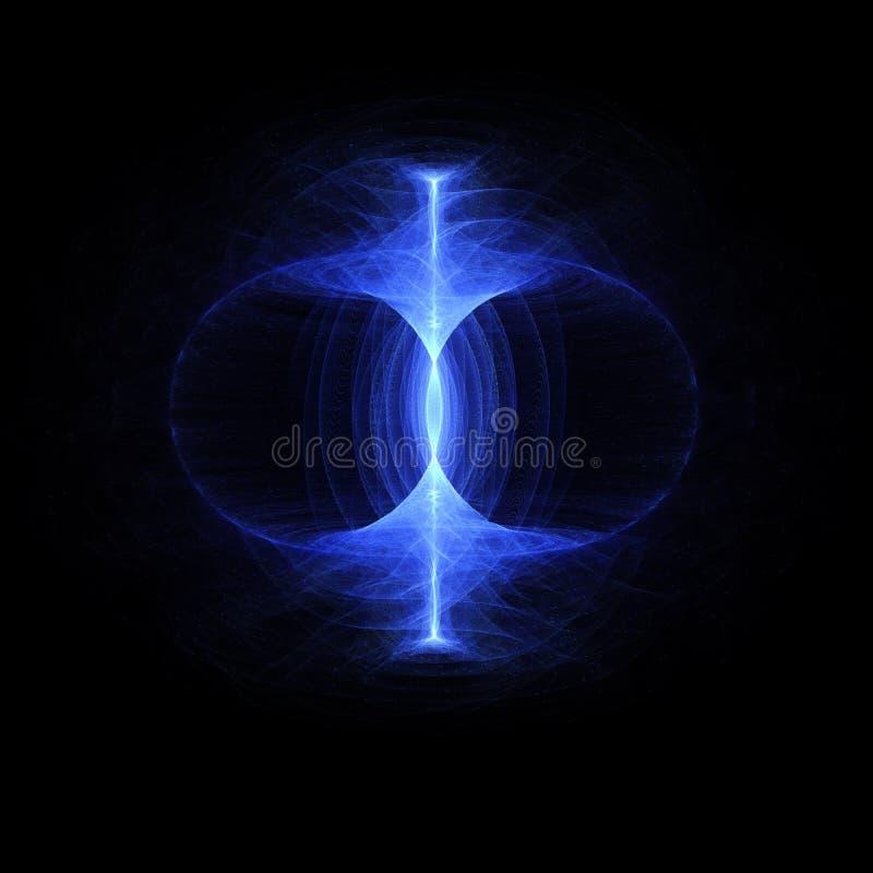 Le champ au zéro absolu d'énergie, énergie élevée viable de particules traversent un tore Champ magnétique, singularité, vagues d illustration libre de droits