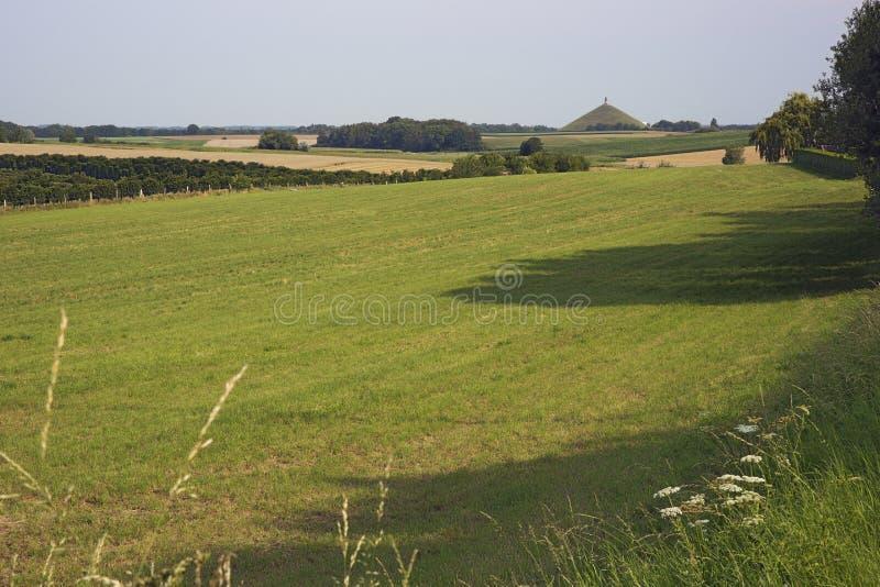 Le champ de bataille de Waterloo vu de Genappe photographie stock libre de droits