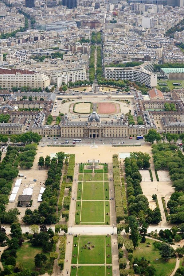 Le Champ de Mars gardens in Paris, France stock images