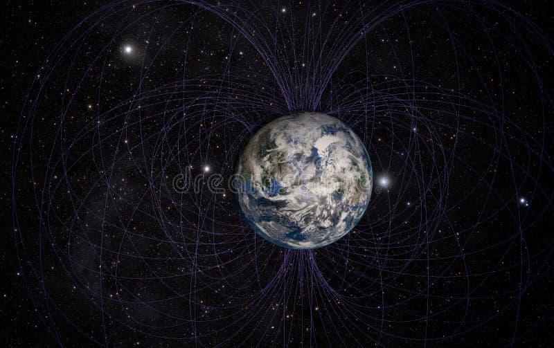 Le champ magnétique de la terre de planète illustration de vecteur