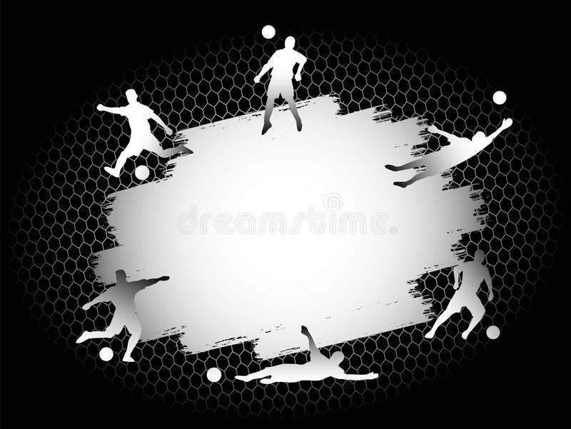 Le champ plat de stade du football du football avec des silhouettes de joueurs a placé sur le fond argenté illustration libre de droits